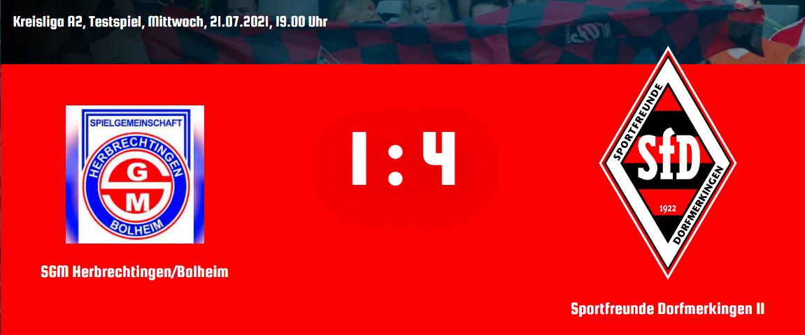 Testspielergebnis SGM Herbrechtingen/Bolheim : SfD II 1:4